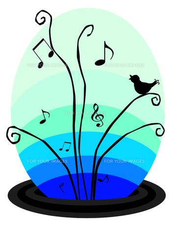 変形五線譜と音符と小鳥の素材 [FYI00407060]