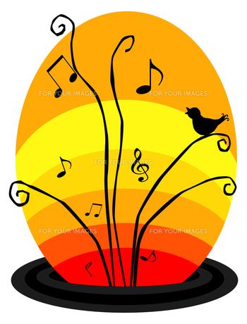 変形五線譜と音符と小鳥の素材 [FYI00407064]