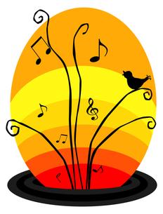 変形五線譜と音符と小鳥の写真素材 [FYI00407064]