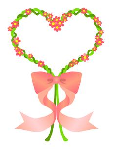 リボン付きハート型小花の写真素材 [FYI00407074]