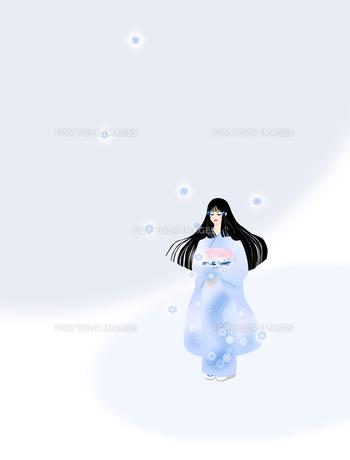 着物姿の女性と雪の結晶の写真素材 [FYI00407111]