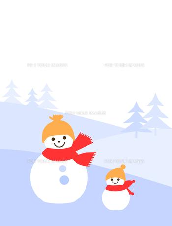 雪原の中の雪だるまの写真素材 [FYI00407118]