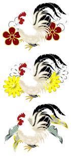 鶏の和風イラストセットの写真素材 [FYI00407441]