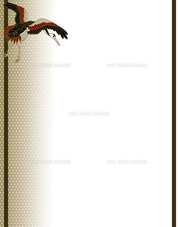 丹頂鶴の和風背景イラストの素材 [FYI00407444]