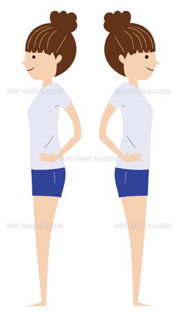 ストレッチをする若い女性(左右横向き)の写真素材 [FYI00408265]