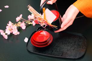 正月お祝い行事お屠蘇と女性の手の写真の写真素材 [FYI00412405]