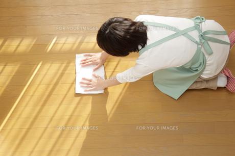 フローリングに雑巾がけをする女性の写真の写真素材 [FYI00412430]