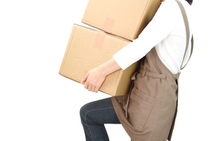 段ボールを運ぶ女性の写真の写真素材 [FYI00412444]