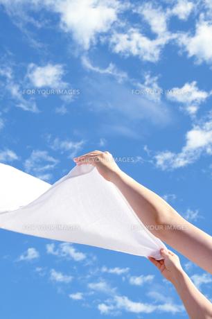 快晴に女性の手と風になびく洗濯物の写真の素材 [FYI00412516]