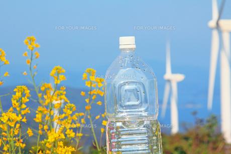 白いキャップのペットボトルと風力発電の自然エネルギーの写真の素材 [FYI00412564]