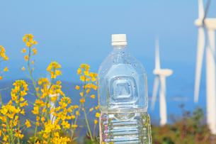 白いキャップのペットボトルと風力発電の自然エネルギーの写真の写真素材 [FYI00412564]