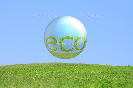 エコ素材丘の上のシャボン玉ecoの文字の写真の写真素材 [FYI00412568]