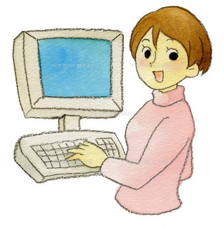 パソコン女性の素材 [FYI00413886]