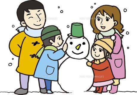 親子で雪だるまの素材 [FYI00413893]