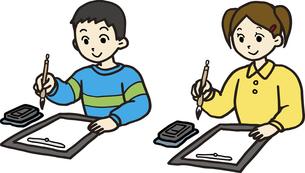 習字をする小学生の素材 [FYI00413897]