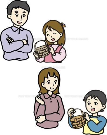 かごを作る親子の素材 [FYI00413902]
