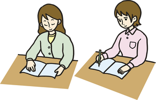 読書と勉強する女性の素材 [FYI00413927]
