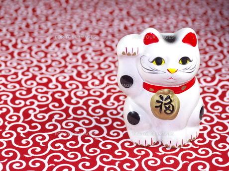 赤い唐草柄と招き猫の写真素材 [FYI00414865]