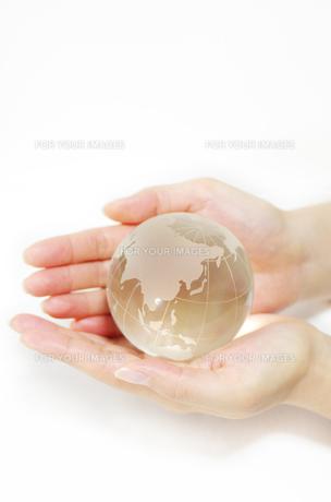 ガラスの地球儀を持つ女性の手の素材 [FYI00415548]