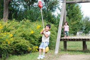 公園で兄弟で遊ぶの写真素材 [FYI00415806]