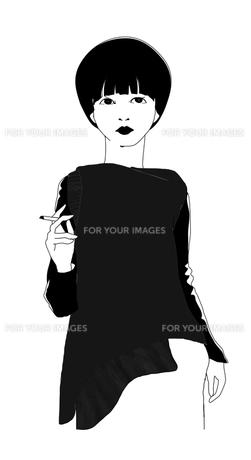 タバコを手に持つマッシュルームカットの女性のイラストの写真素材 [FYI00416187]