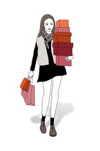 ショッピング中の女性のイラストの写真素材 [FYI00416203]