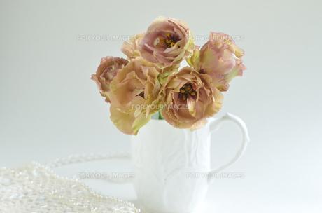 トルコ桔梗と白いカップの写真素材 [FYI00416230]