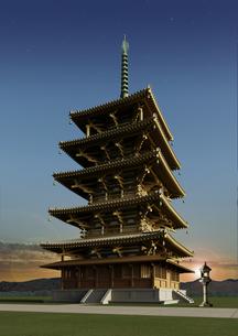 古代 法隆寺五重塔 夜明けの写真素材 [FYI00418293]