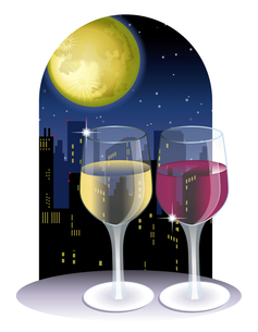 月夜のワインの写真素材 [FYI00418546]