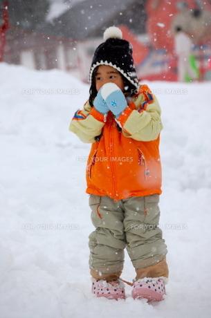 寒そうにゲレンデの雪を眺める少女の写真素材 [FYI00419133]