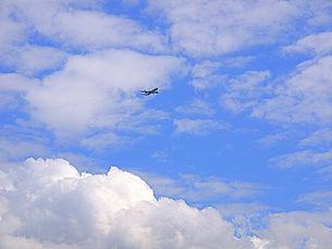 夏空と飛行機の写真素材 [FYI00420510]