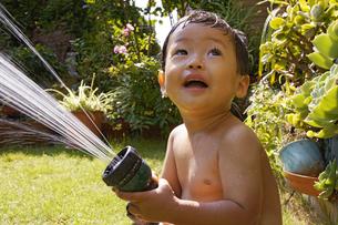 庭で水遊びをする赤ちゃんの写真素材 [FYI00420872]