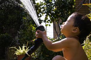 庭で水遊びをする赤ちゃんの写真素材 [FYI00420877]