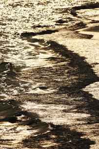 夕方の波打ち際の写真素材 [FYI00421430]