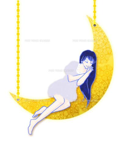 月で眠る少女の写真素材 [FYI00421489]