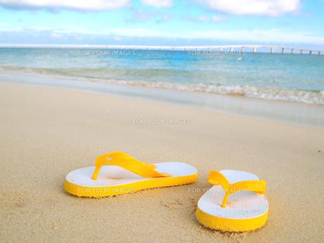 砂浜とビーチサンダルの素材 [FYI00421535]