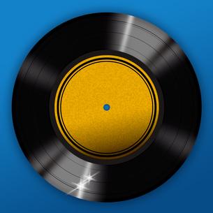 青背景のレコードの写真素材 [FYI00422304]