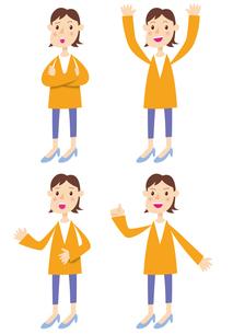 オレンジの服を着た女性の写真素材 [FYI00422345]