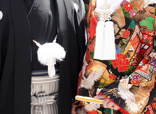和装婚礼 色打ち掛け・紋付の写真素材 [FYI00422737]
