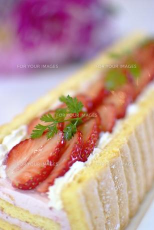 苺のロールケーキの写真素材 [FYI00423898]