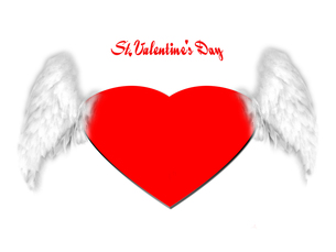 天使の羽とハートとバレンタインの写真素材 [FYI00424652]
