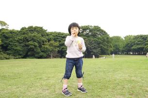 シャボン玉で遊ぶ女の子の写真素材 [FYI00425214]
