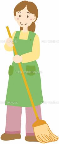 掃除する女性の写真素材 [FYI00427425]