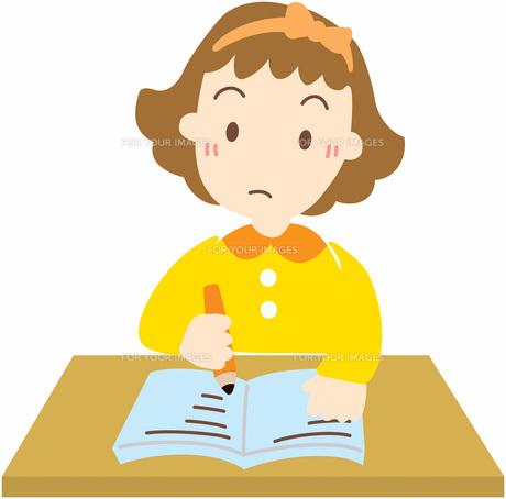 勉強する女の子の写真素材 [FYI00427533]