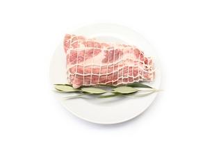 ネットをかけた豚肩ロースの写真素材 [FYI00428598]