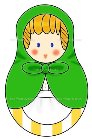 緑のショールを着たマトリョーシカの写真素材 [FYI00429658]