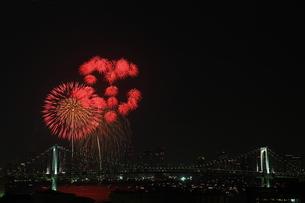 レインボーブリッジと花火の写真素材 [FYI00430702]