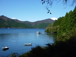森に囲まれた芦ノ湖の写真素材 [FYI00432817]
