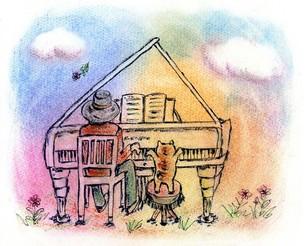 晴れた日は 青空の下で猫と一緒に音楽会♪ の写真素材 [FYI00433063]