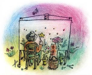 猫と人間 仲良く並んで 絵を描く の写真素材 [FYI00433066]